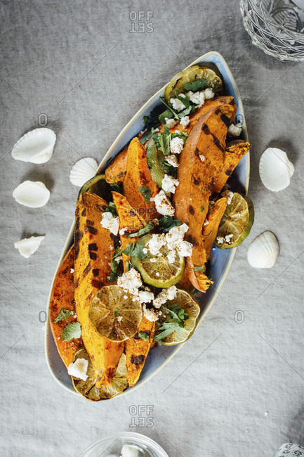 Roasted sweet potatoes on a serving dish