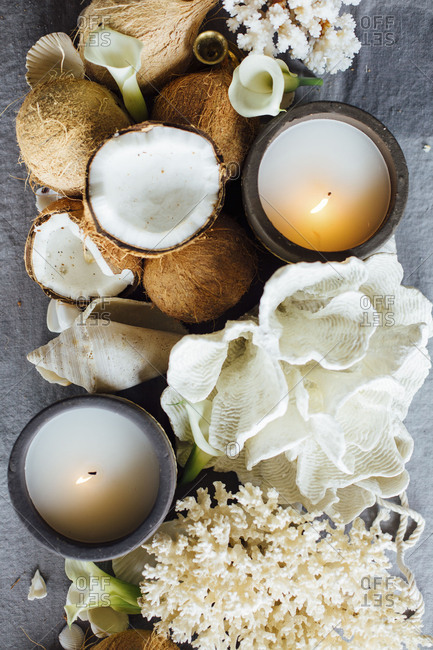 Candle on tropical beach tablescape