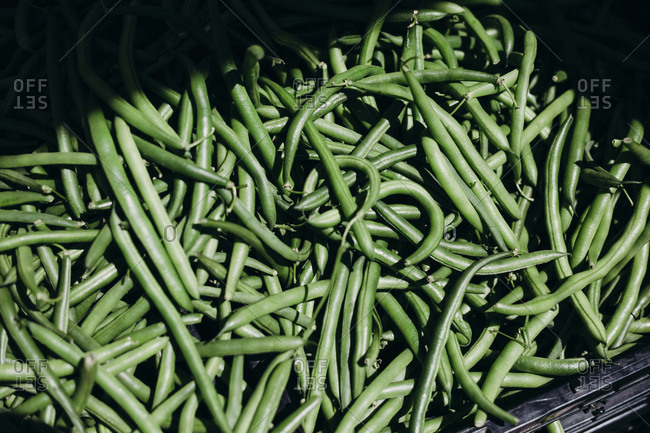 Close up of green beans at a local farmers market