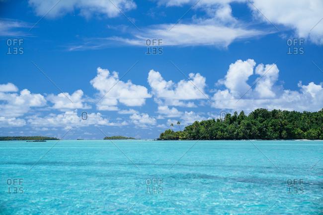 View of the coast of Aitutaki, Cook Islands