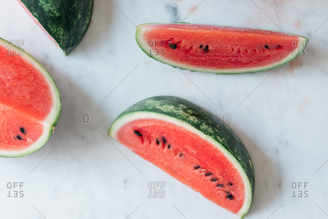 Fresh watermelon cut into large sections