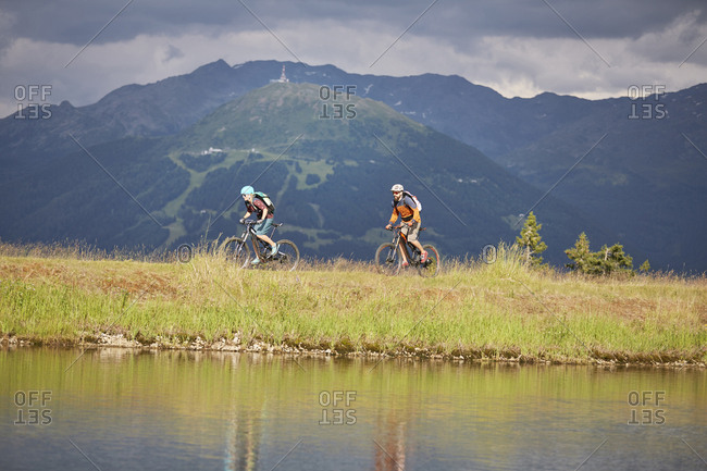 Austria- Tyrol- male and female mountain biker