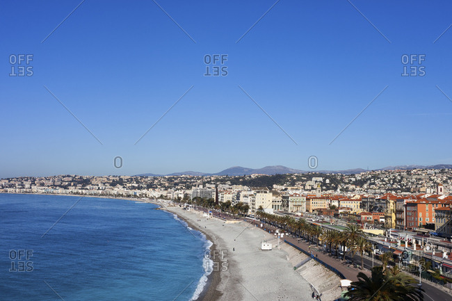 France- Provence-Alpes-Cote d'Azur- Nice- City view and beach on French Riviera
