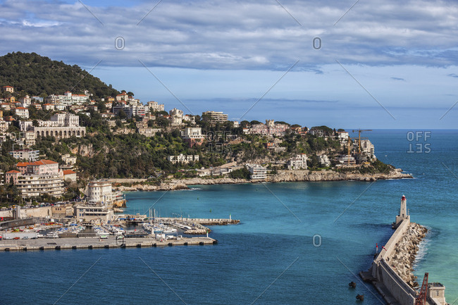 France- Provence-Alpes-Cote d'Azur- Nice- French Riviera coastline at Mediterranean Sea- Port entrance