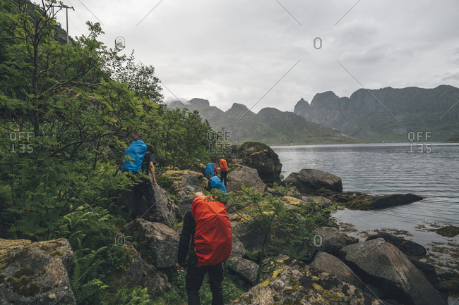 Norway- Lofoten- Moskenesoy- Group of hikers walking along Kjerkefjord