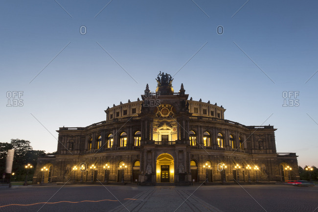 Germany- Dresden- view to Semperoper at blue hour