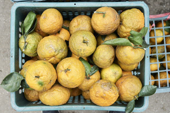 Bunch of oranges and tangerines within a basket ready to sell in a market