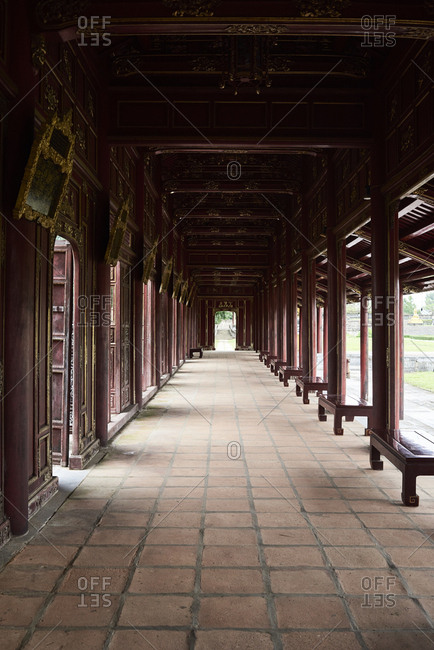 Chinese style old corridor with bench on the sides in the Imperial old city