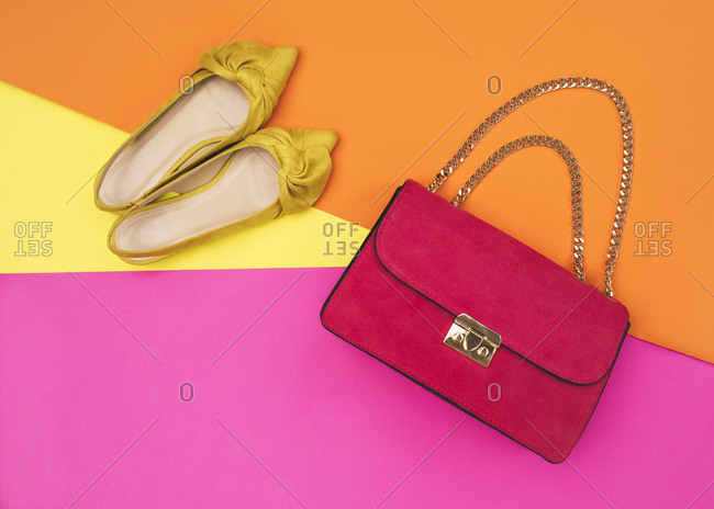 Yellow shoes and a leather handbag