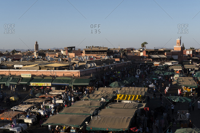 Marrakech, Morocco - September 16, 2017: Jemaa El-Fna seen from above