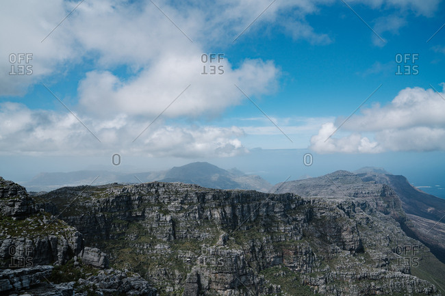 Picturesque elevated view of secluded mountain range
