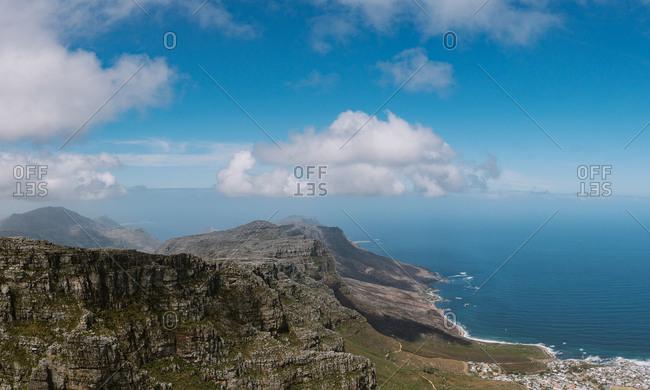 Panoramic drone view of mountainous coastline