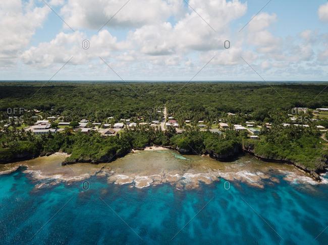 Resort beach village drone view over sea