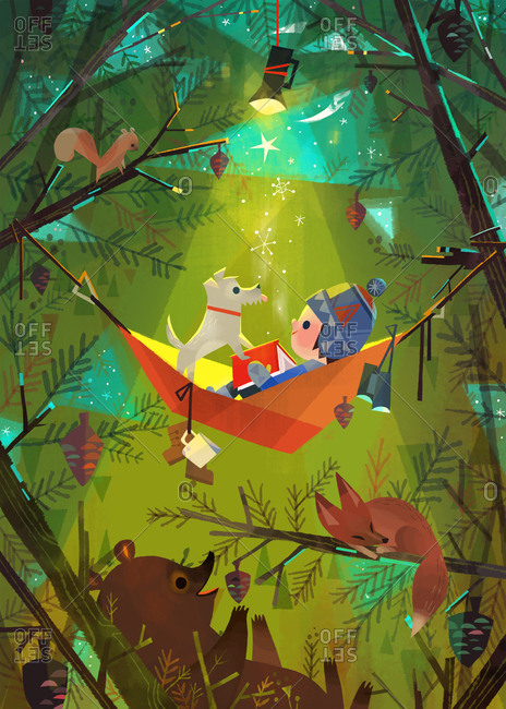 Child with pet dog and book relaxing in a hammock while camping in the forest in winter