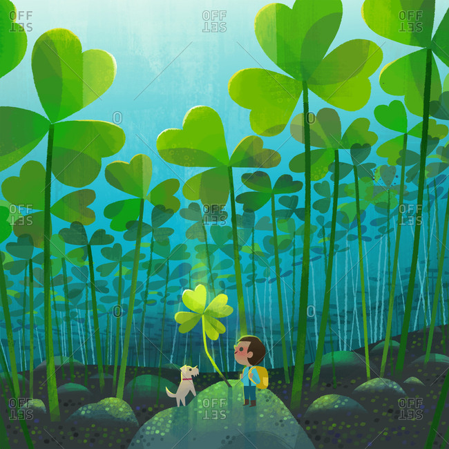 Child and dog standing under a four-leaf clover
