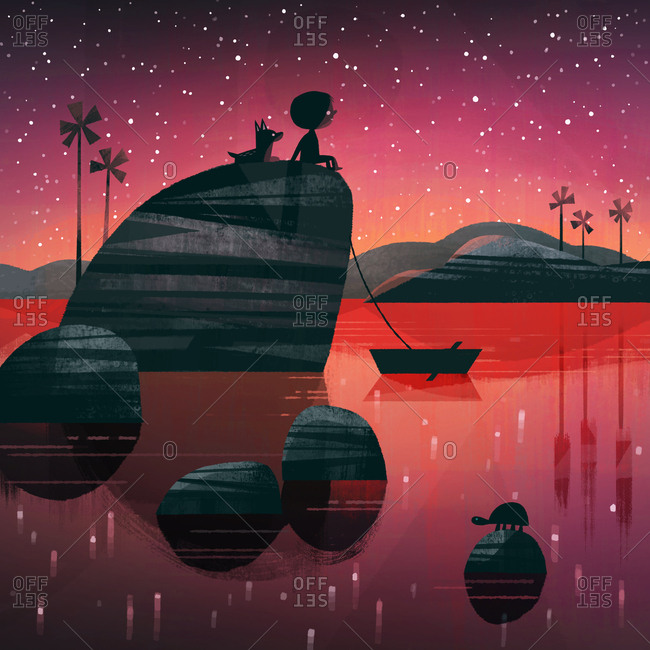 Child and pet dog sitting on a rock in a lake at dusk looking at the stars