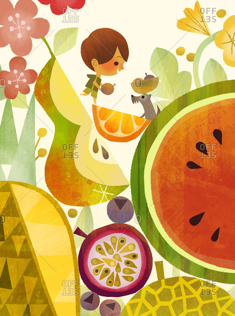 Child and pet dog surrounded by summer fruits