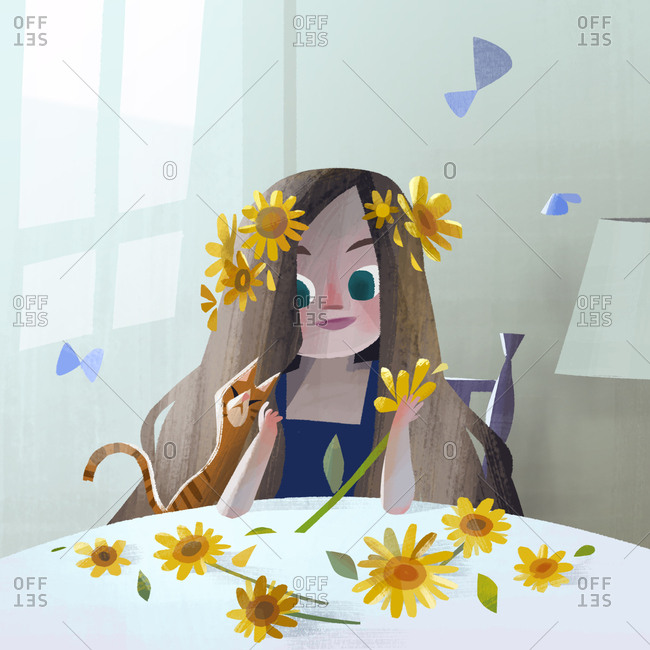 Girl with sunflowers in her hair sitting with her pet cat