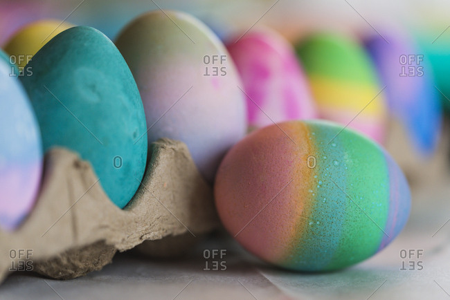 Close-up of colorful Easter eggs on table at home