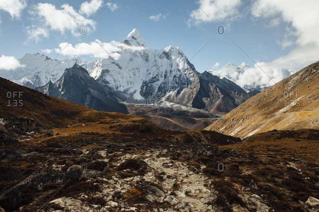 Scenic view of mountains against sky at Sagarmatha National Park during sunny day