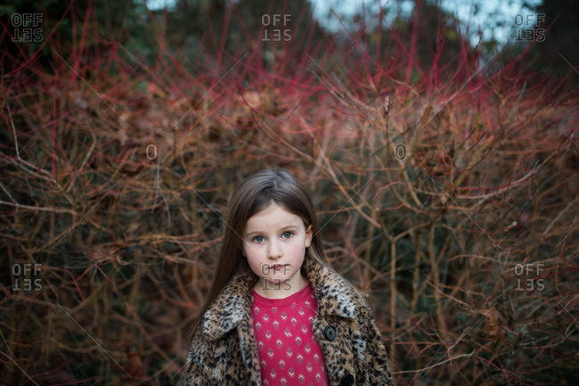 Portrait of young girl standing in front of bare bushes
