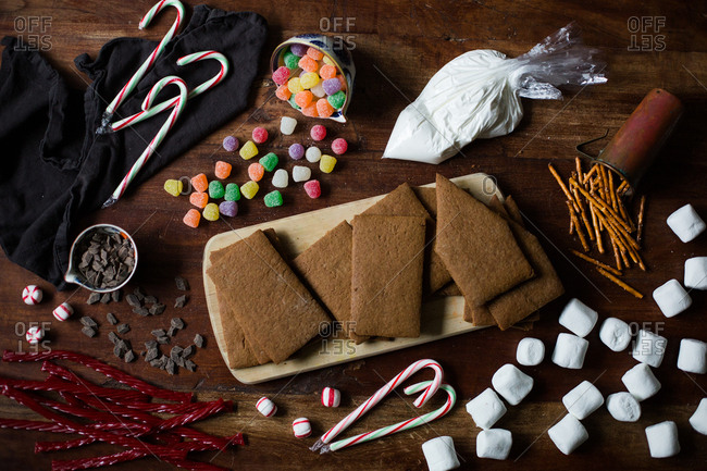 Ingredients for a gingerbread house