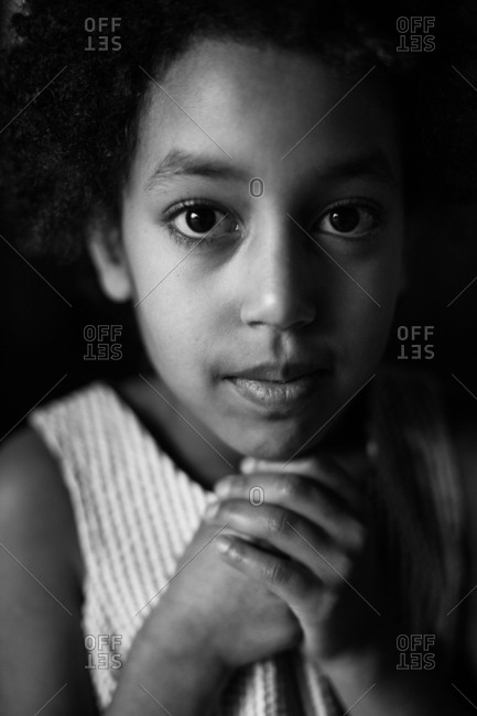 Portrait of a young Ethiopian girl in black and white