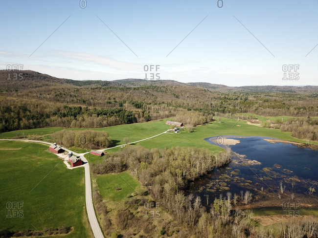 View over farm and Otter Creek wetlands, Brandon, Vermont