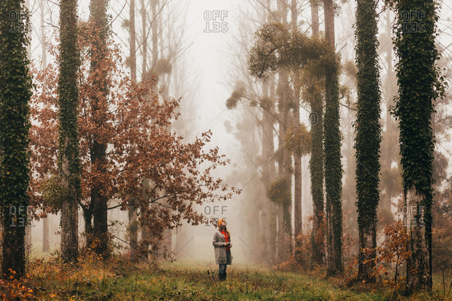 Pretty unrecognizable woman standing at the tall trees in foggy autumn forest.