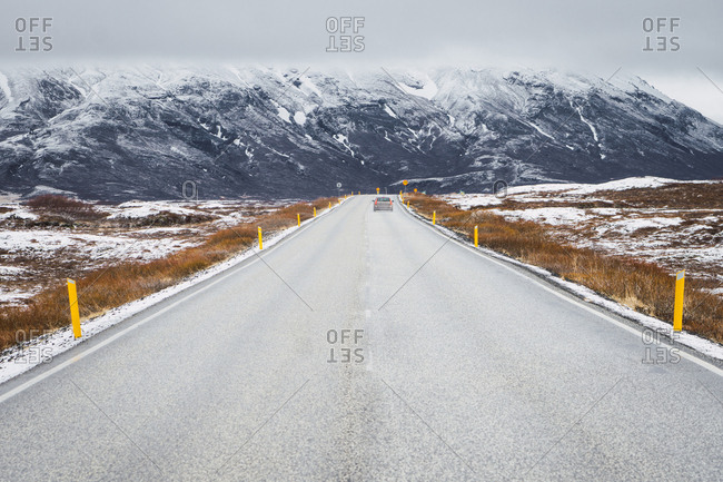 Landscape of snowy road