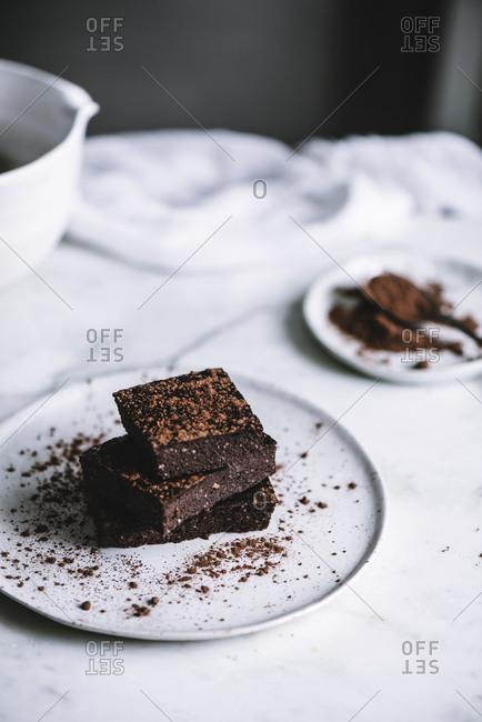 Vegan brownie on table