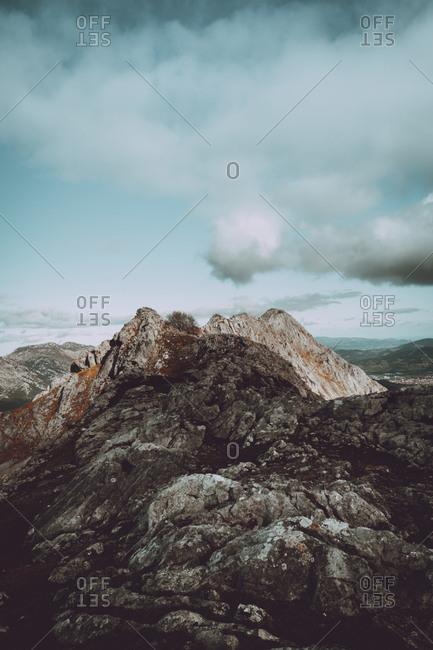 Rocky peak on mountain range