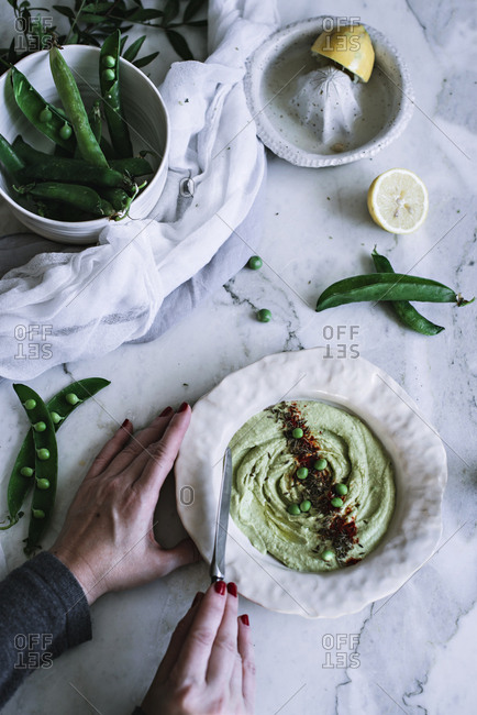 Bowl with tasty mashed peas