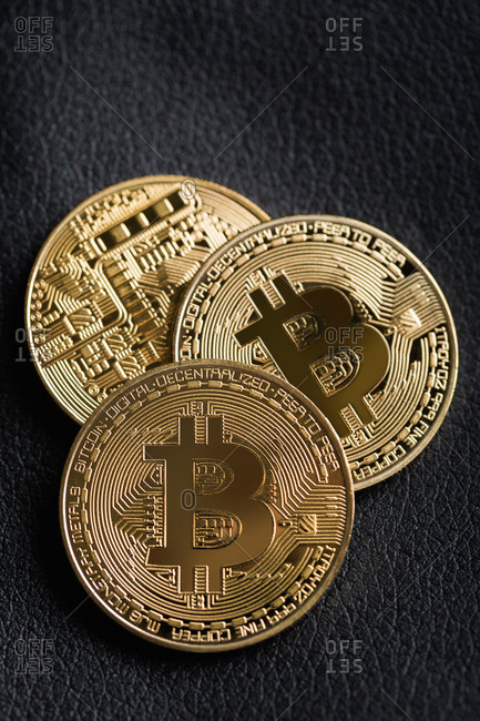 Bitcoins on leather background