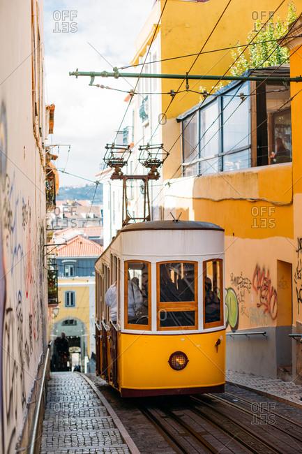 April 14, 2018: Tram in Lisbon, Portugal