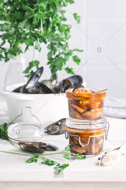 Mussels in glass jars