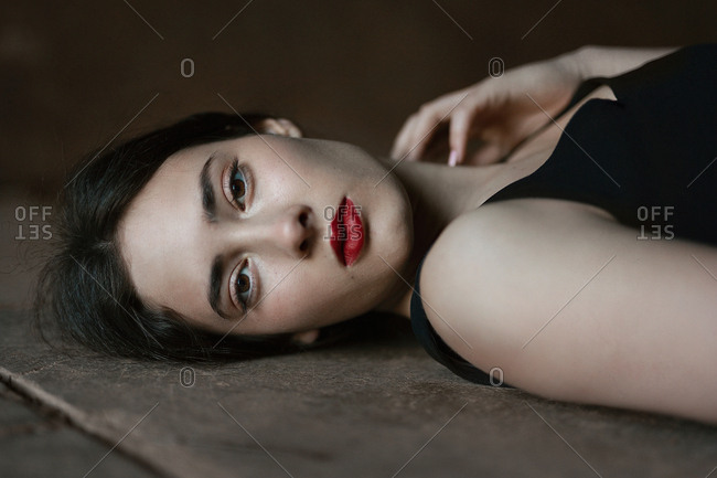Sensual young woman with dark lipstick