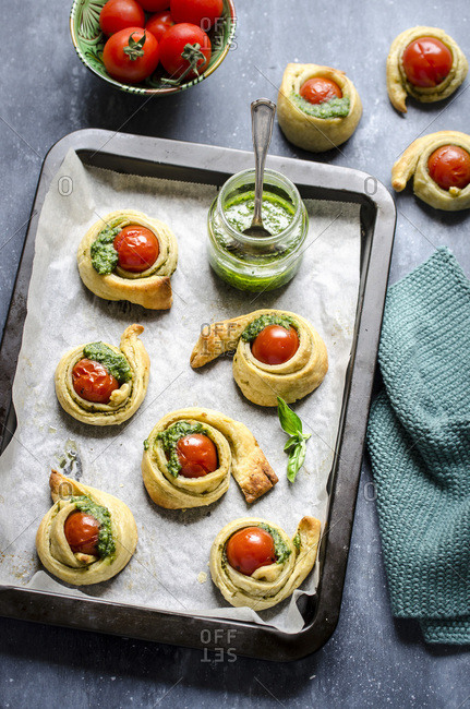 Mini cherry tomato and pesto tarts
