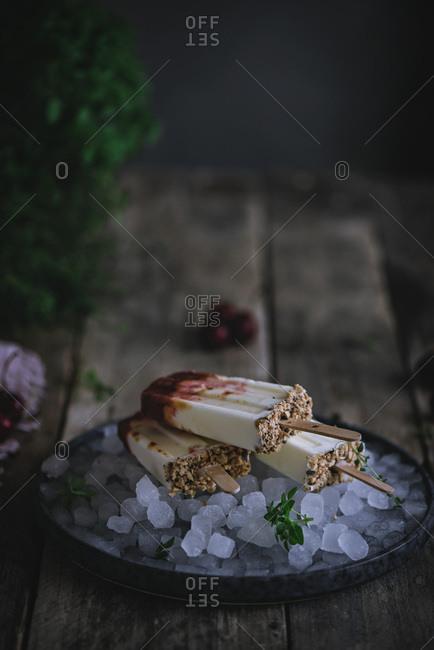 Greek yogurt popsicles with cherries