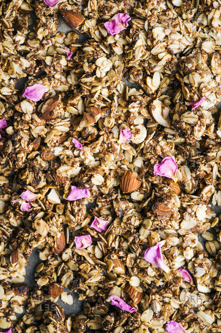 Almond, date, and cardamom granola with rosewater, unbaked.