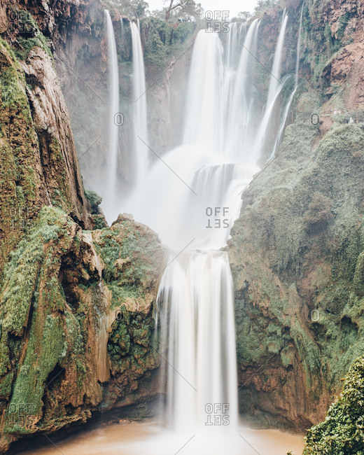 Long exposure photography of the Ouzoud Waterfall in Morocco