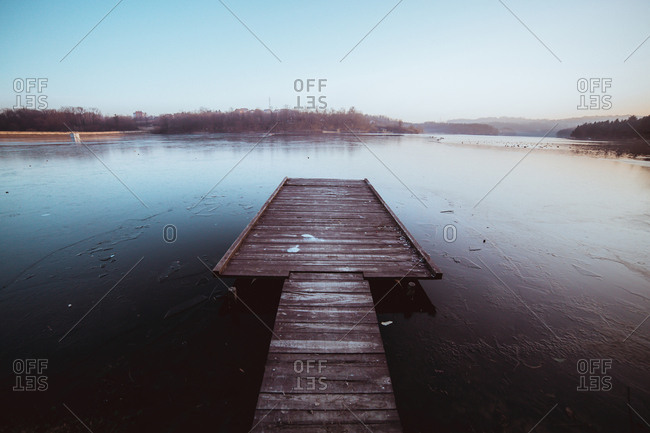 A dock on a frozen lake