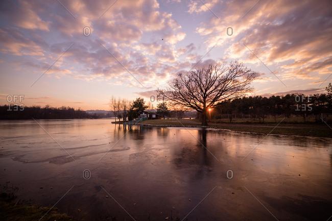 Crimson sunset on a frozen lake