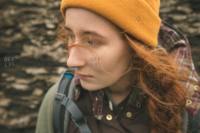 close-up of beautiful red haired female hiker