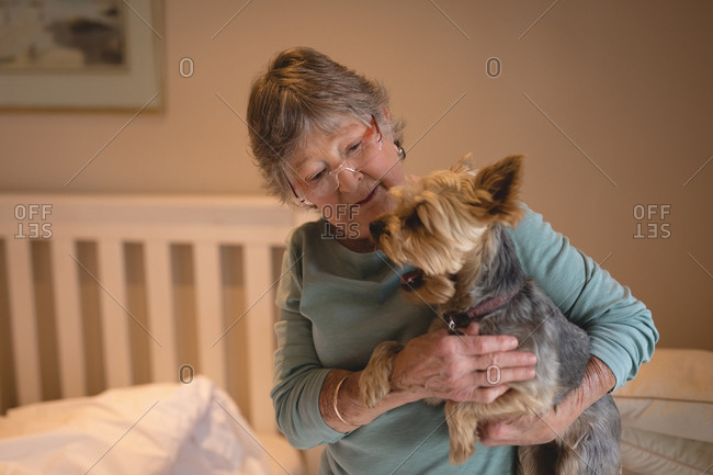 Senior woman holding a dog at home