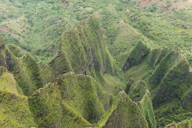 Aerial of lush mountain ranges in Na Pali Coast State Park