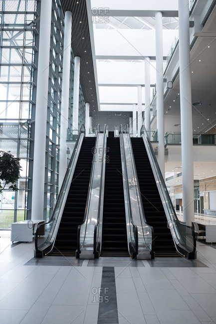 Modern escalator in the office building