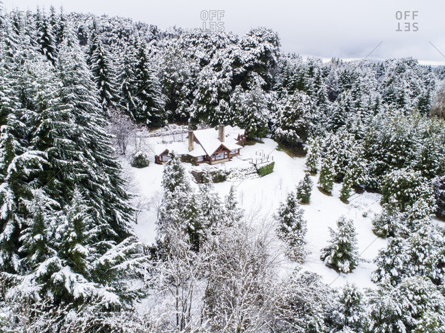 Snow covered house in rural Bariloche, Argentina