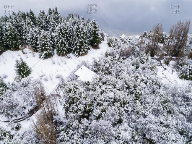 Aerial view of Moreno Lake, Bariloche, Argentina in winter