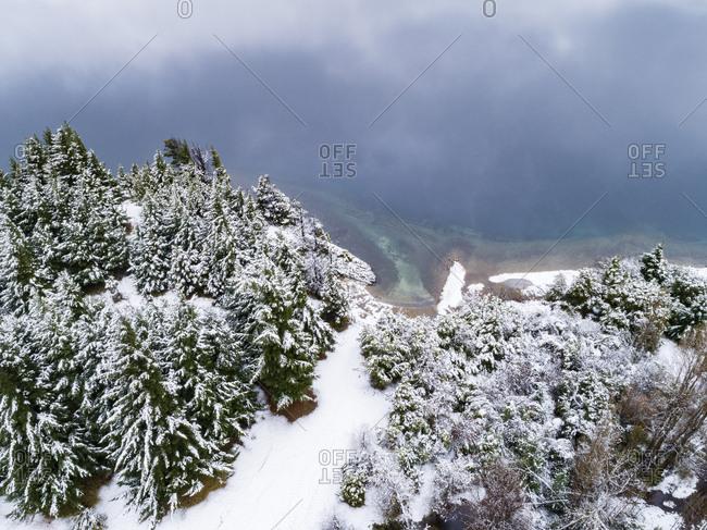 Elevated view of Moreno Lake, Bariloche, Argentina in winter